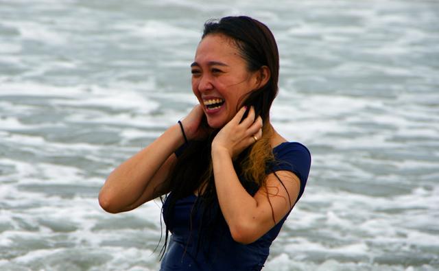 プリーの海ではしゃぐゆうちゃん